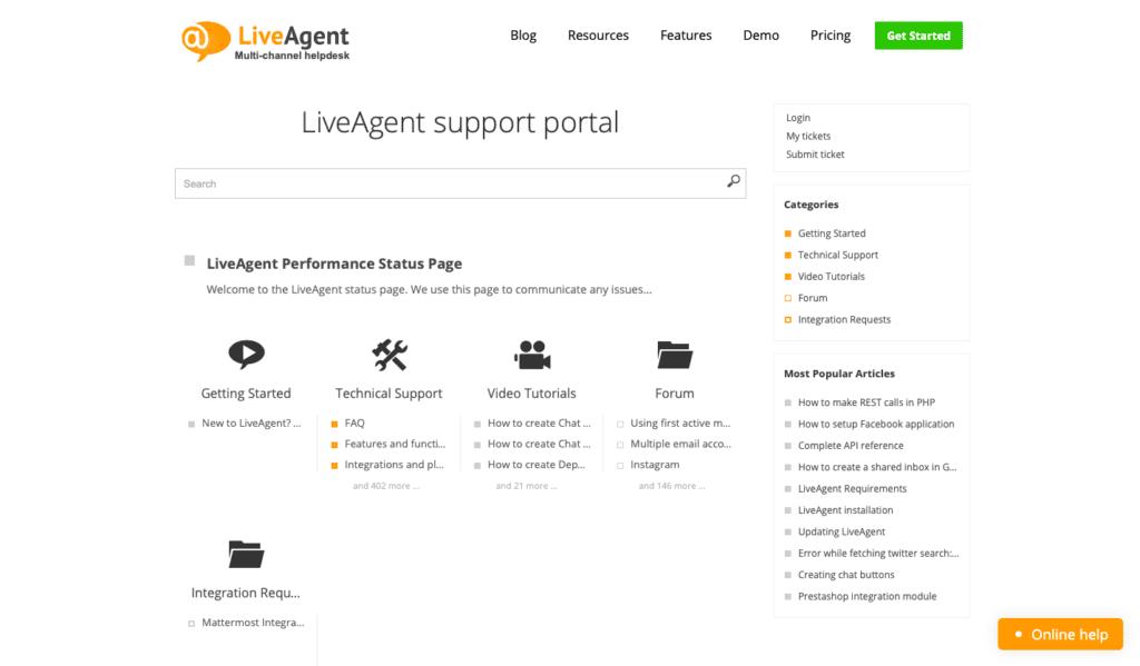 base de conhecimento do LiveAgent
